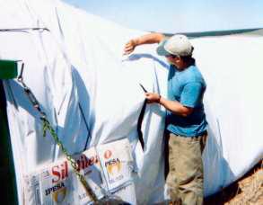 Оставшийся на туннеле рукав наполняется как новый или остается в машине до новой упаковки.