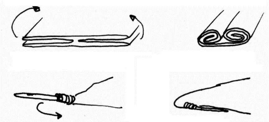 Варианты закрытия начала рукава: с помощью веревки